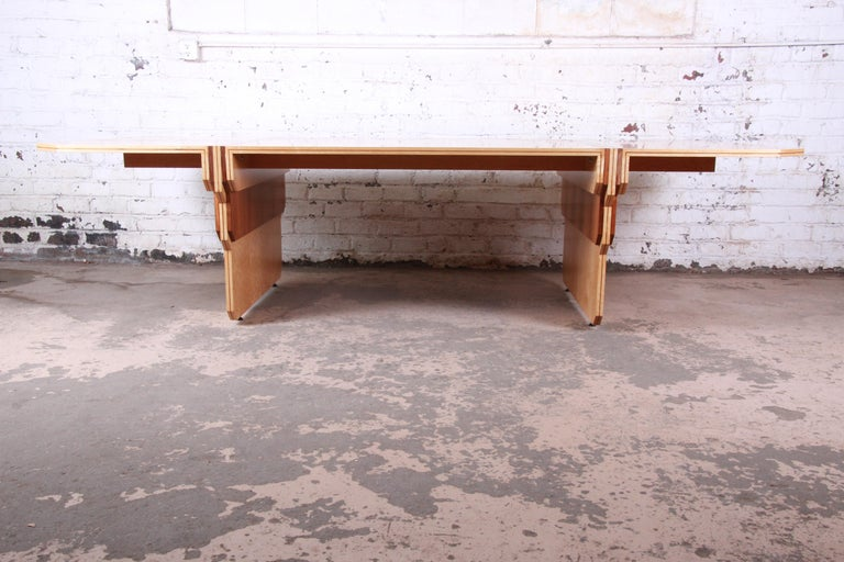 American Pierre Paulin for Baker Bird's-Eye Maple Art Deco Conference or Dining Table For Sale