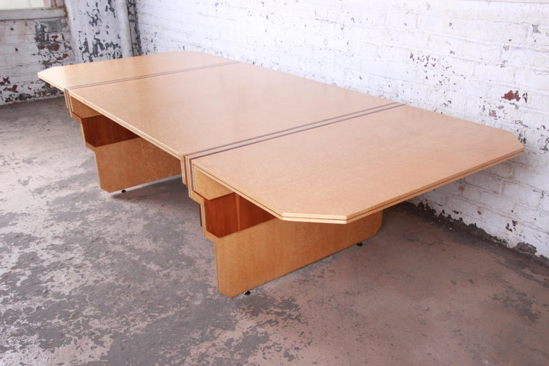 Pierre Paulin for Baker Bird's-Eye Maple Art Deco Conference or Dining Table For Sale 1