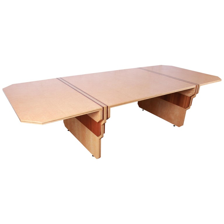 Pierre Paulin for Baker Bird's-Eye Maple Art Deco Conference or Dining Table For Sale