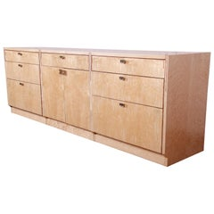 Pierre Paulin for Baker Bird's-Eye Maple Modern Art Deco Credenza, Restored