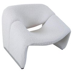 Pierre Paulin Groovy Chair in Ivory Wool for Artifort, The Netherlands, 1973