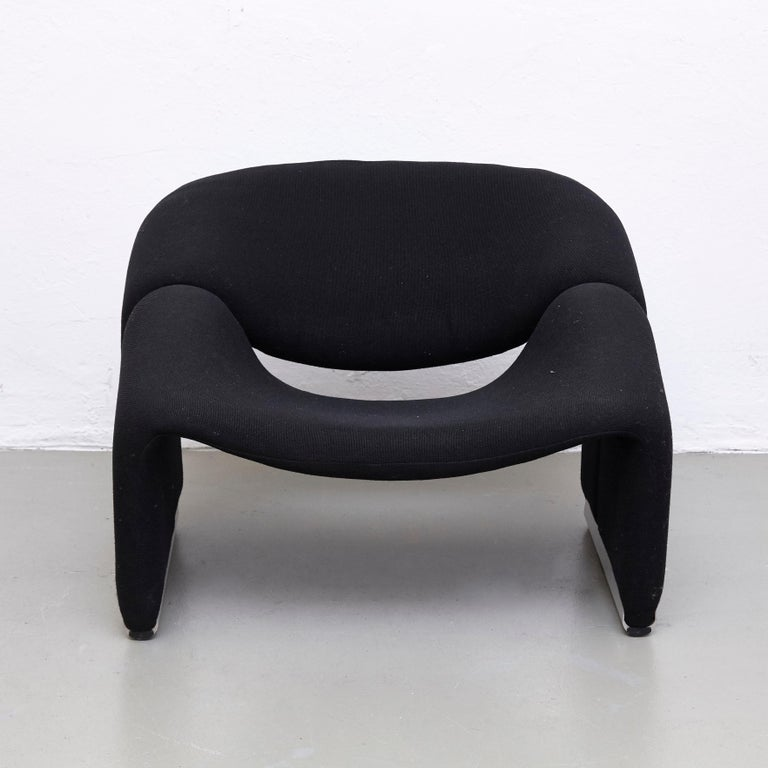 Mid-Century Modern Pierre Paulin, Mid Century Modern, Black Upholstered Groovy Lounge Chair, 1970 For Sale