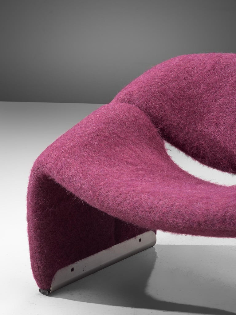 Aluminum Pierre Paulin 'Groovy' Lounge Chairs Customizable in Pierre Frey Wool Upholstery For Sale