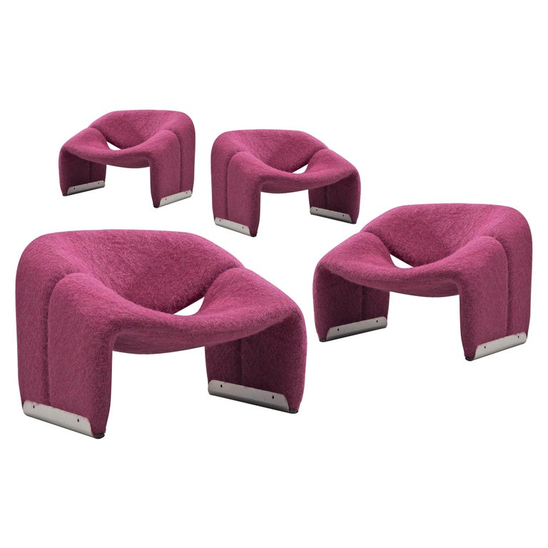 Pierre Paulin 'Groovy' Lounge Chairs Customizable in Pierre Frey Wool Upholstery For Sale