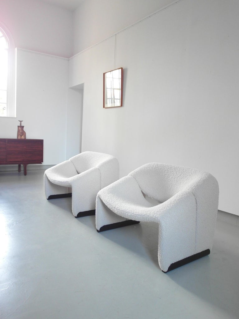 Mid-Century Modern Pierre Paulin Pair of Groovy Chairs in Wool for Artifort, the Netherlands, 1973
