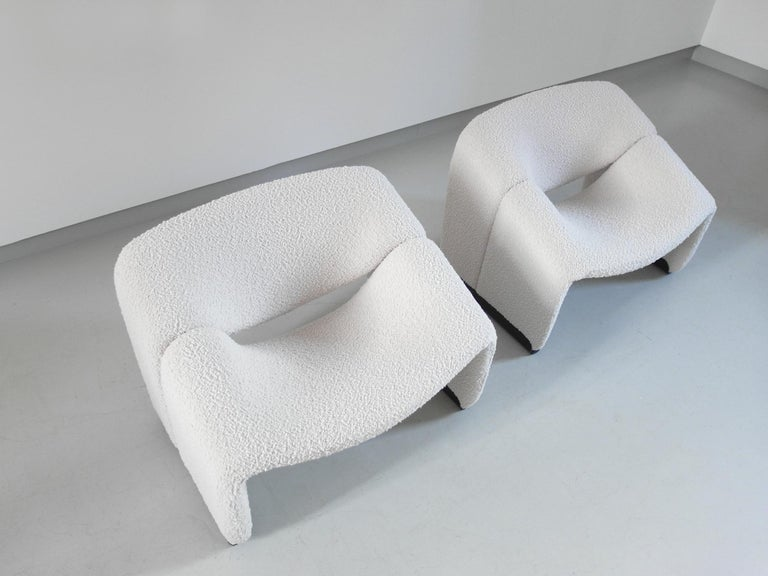 Pierre Paulin Pair of Groovy Chairs in Wool for Artifort, the Netherlands, 1973 In Good Condition In Woudrichem, NL