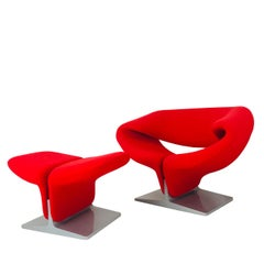 Pierre Paulin Red Ribbon Chair & Ottoman for Artifort