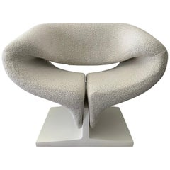 """Pierre Paulin """"Ribbon"""" Lounge Chair in Boucle for Artifort, Netherlands, 1966"""