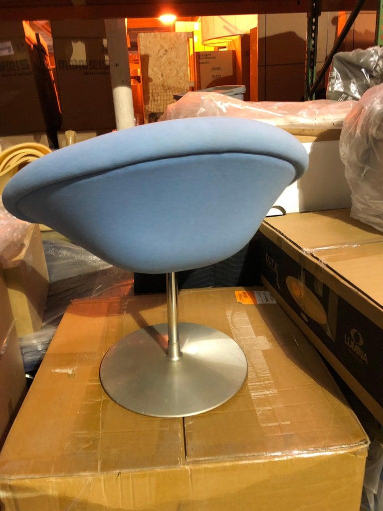 Mid-20th Century Pierre Paulin Swivel Blue Little Globe Stool For Sale