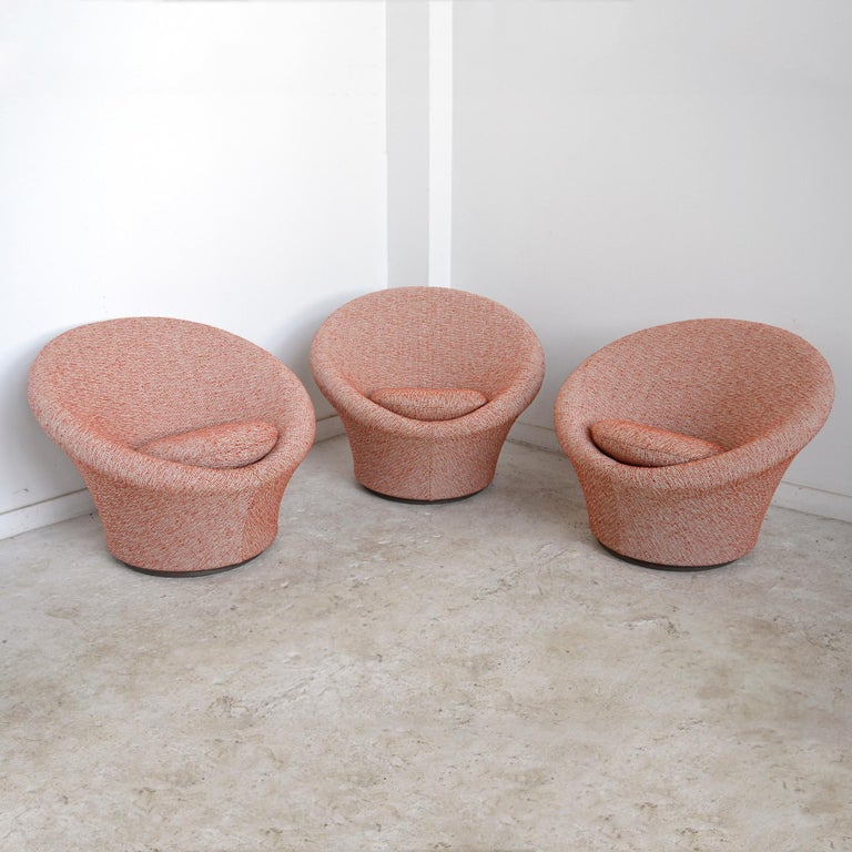 A terrific example of Paulin's organic design aesthetic, the mushroom chair sprouts from the floor and envelops the sitter. The curvy form looks beautiful from every side and has a swivel function, allowing it to easily be positioned to any angle.