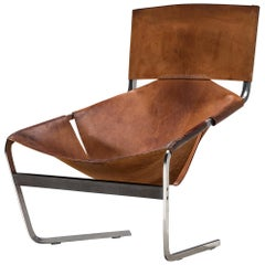 Pierre Paulin's F-444 Easy Chair in Patinated Cognac Leather