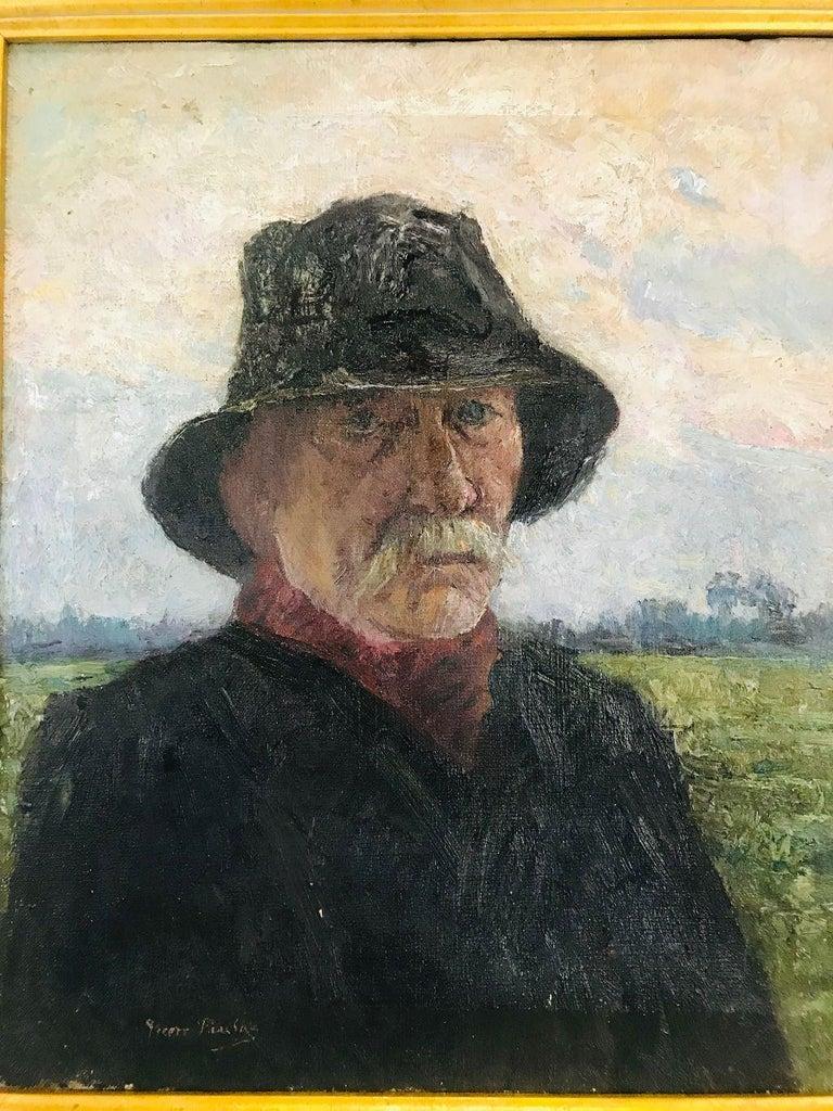 Belgian Pierre Paulus Portrait of Man in Hat Oil on Canvas For Sale