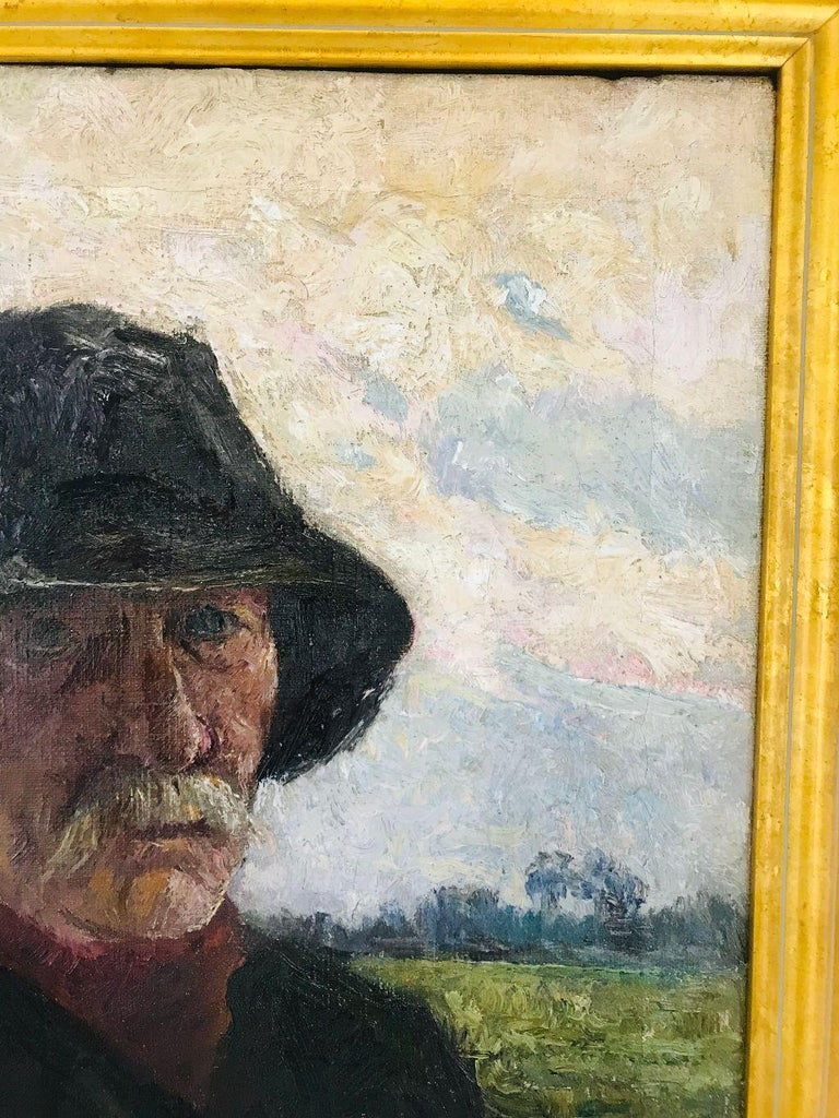 Pierre Paulus Portrait of Man in Hat Oil on Canvas In Good Condition For Sale In Plymouth, MA