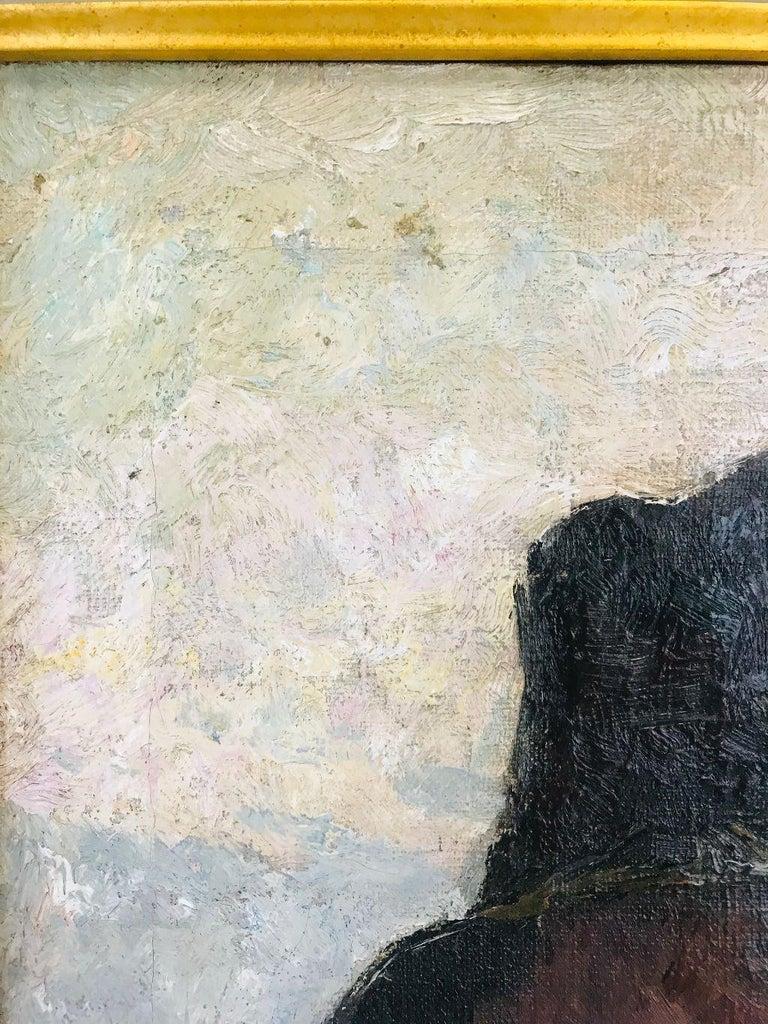 20th Century Pierre Paulus Portrait of Man in Hat Oil on Canvas For Sale