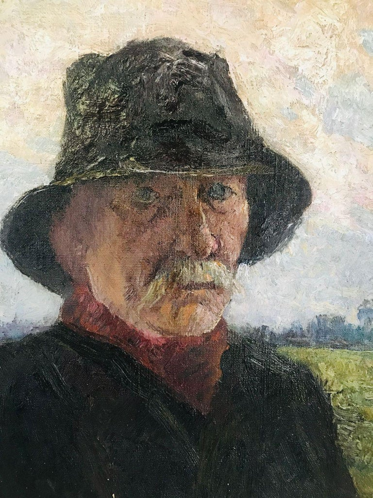 Pierre Paulus Portrait of Man in Hat Oil on Canvas For Sale 1