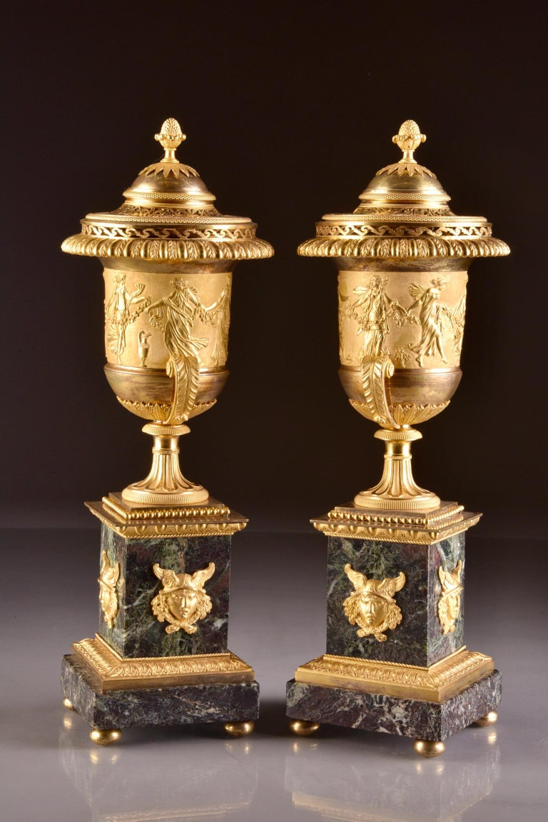Pierre-Philippe Thomire, a Monumental Three-Piece Clock Garniture For Sale 2