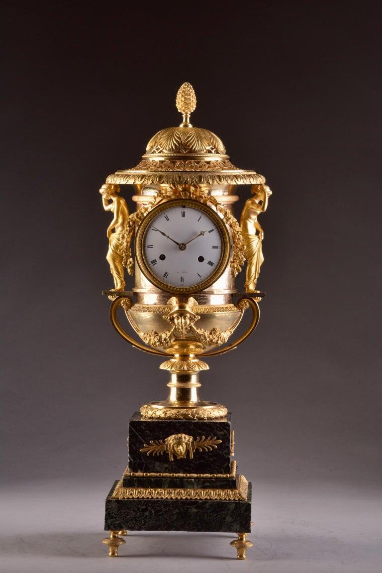 Empire Pierre-Philippe Thomire, a Monumental Three-Piece Clock Garniture For Sale