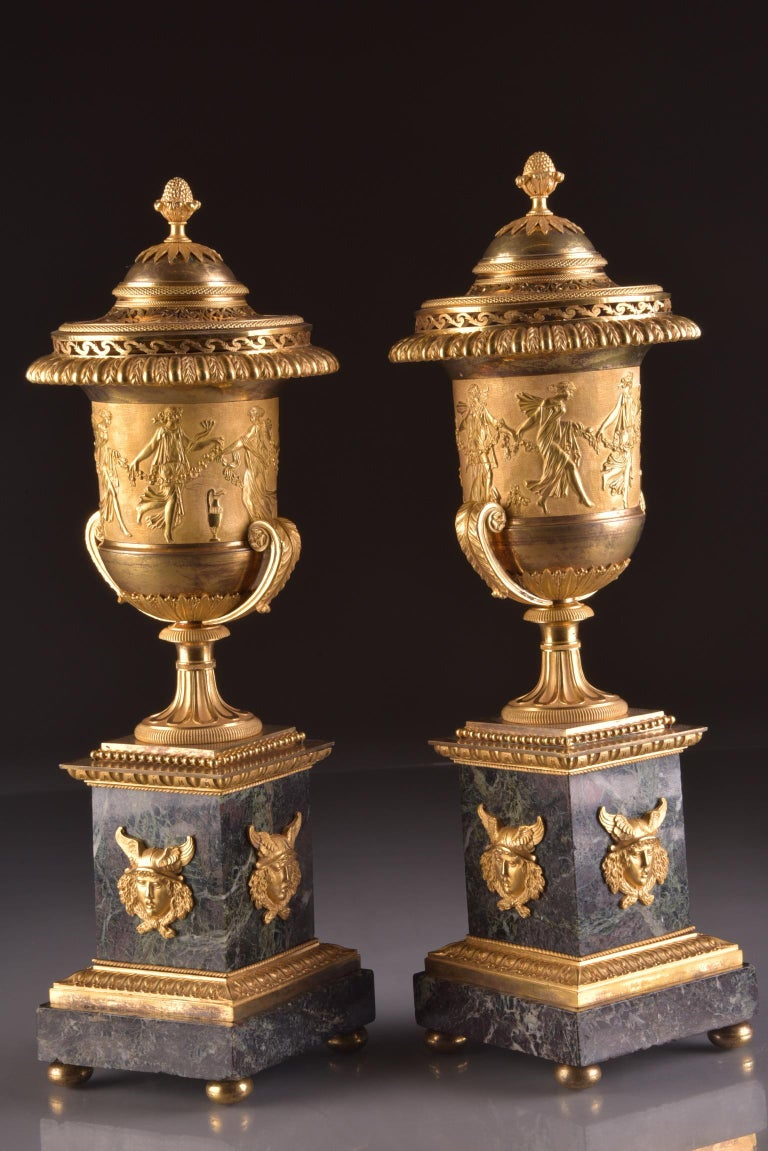 Pierre-Philippe Thomire, a Monumental Three-Piece Clock Garniture For Sale 1