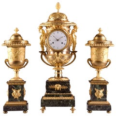 Pierre-Philippe Thomire, a Monumental Three-Piece Clock Garniture