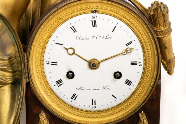 Pierre-Philippe Thomire Empire Marble Mantle Clock In Good Condition For Sale In Atlanta, GA