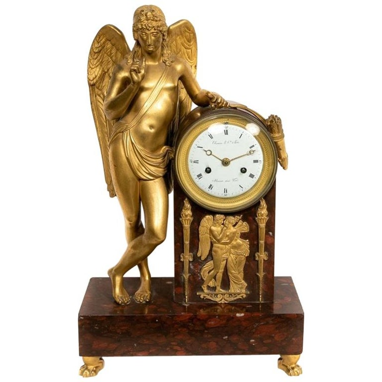 Pierre-Philippe Thomire Empire Marble Mantle Clock For Sale