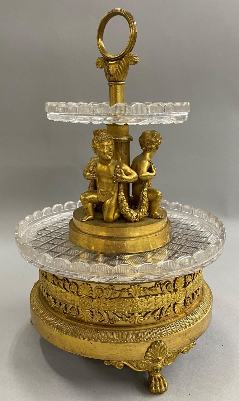 Pierre-Phillipe Thomire French Tiered Crystal and Gilt Bronze Centerpiece In Good Condition For Sale In Milford, NH