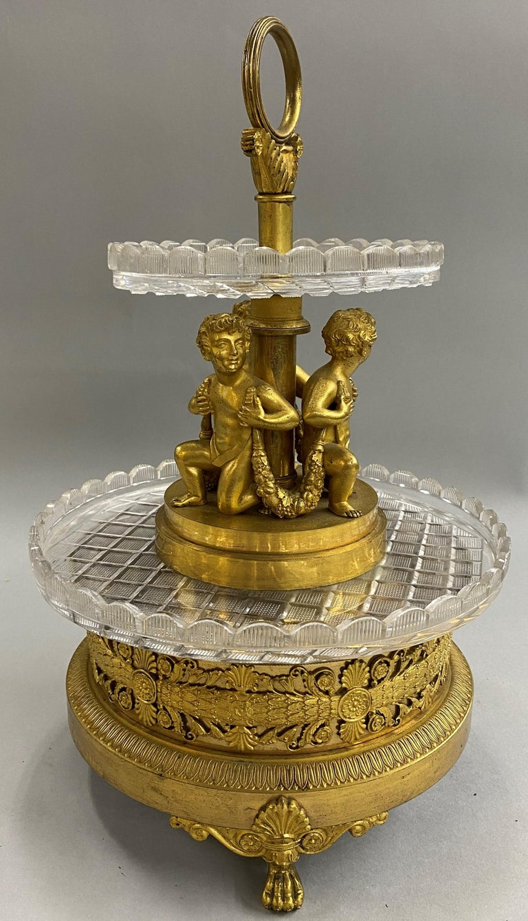 19th Century Pierre-Phillipe Thomire French Tiered Crystal and Gilt Bronze Centerpiece For Sale