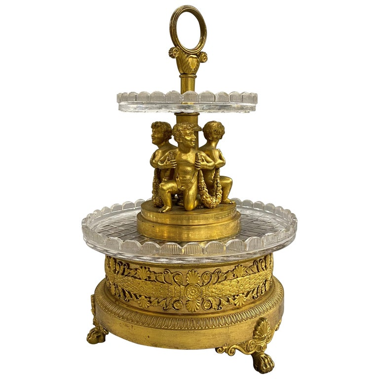 Pierre-Phillipe Thomire French Tiered Crystal and Gilt Bronze Centerpiece For Sale