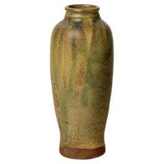 Pierre Pigaglio Brown and Green Stoneware Ceramic Vase circa 1950