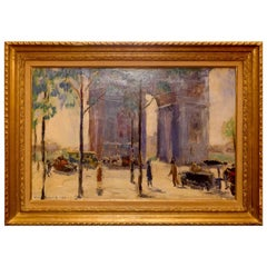 Pierre Sicard Oil on Canvas Arc de Triomphe in Paris, circa 1925