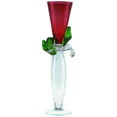 Pierre Small Red and Glass Vase by Borek Sipek for Driade