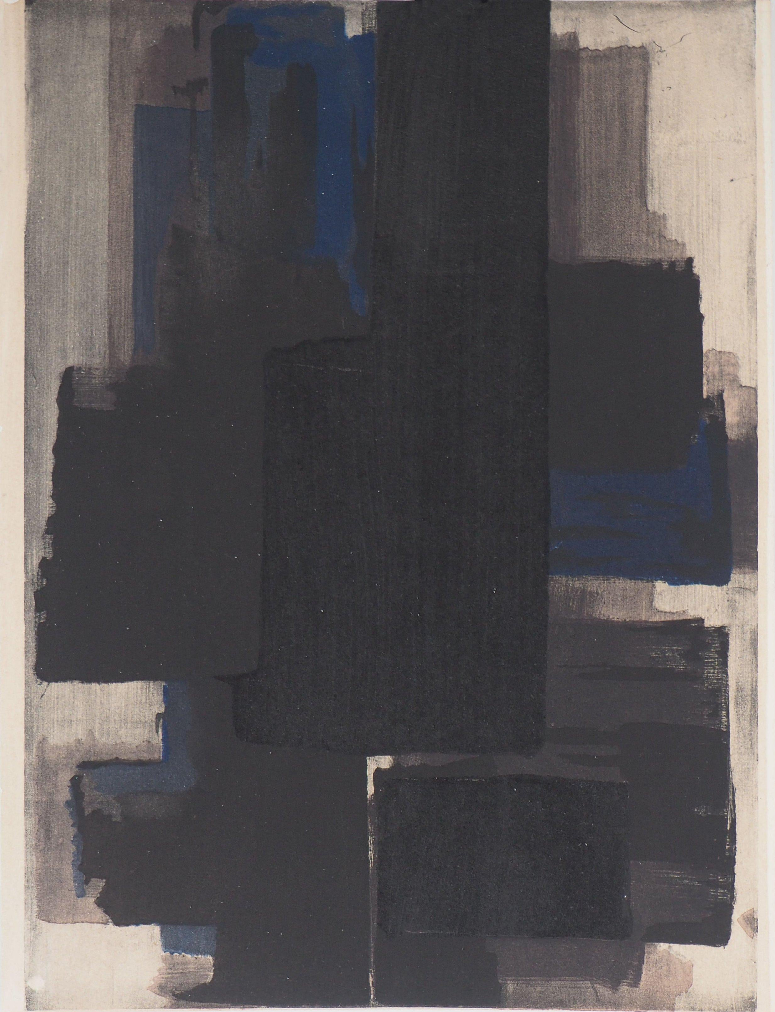 Composition in blue and black - Lithograph  and stencil, 1956