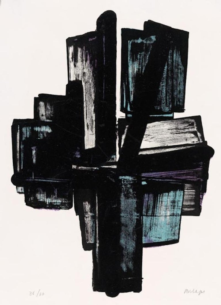 <i>Cross (Lithograph No 4)</i>, 1957, by Pierre Soulages. Offered by Peter Blake Gallery