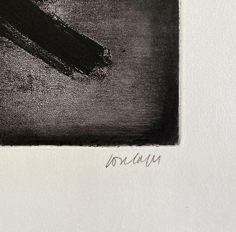 Eau forte 2 - Original Etching Hand Signed and Numbered (BNF #2) - Abstract Print by Pierre Soulages