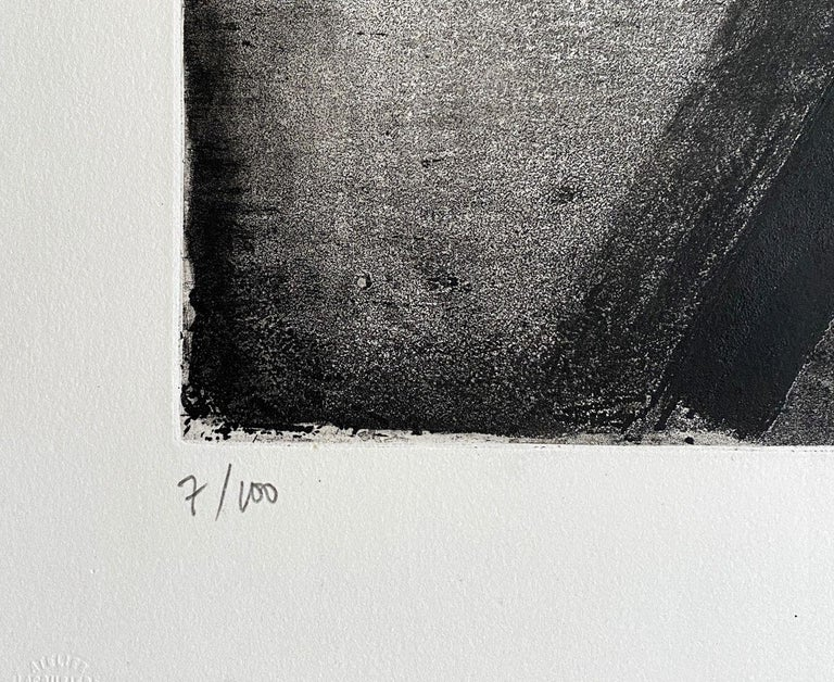 Eau forte 2 - Original Etching Hand Signed and Numbered (BNF #2) - Black Abstract Print by Pierre Soulages