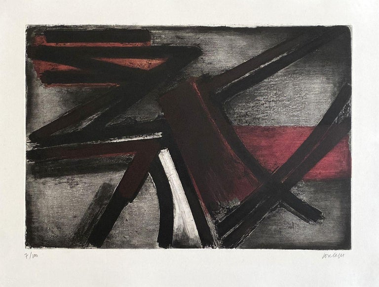 Pierre Soulages Abstract Print - Eau forte 2 - Original Etching Hand Signed and Numbered (BNF #2)