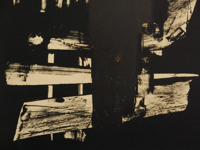 Lithograph n°9 - Original stone lithograph (Mourlot / Catalog raisonne BNF#53) - Abstract Print by Pierre Soulages