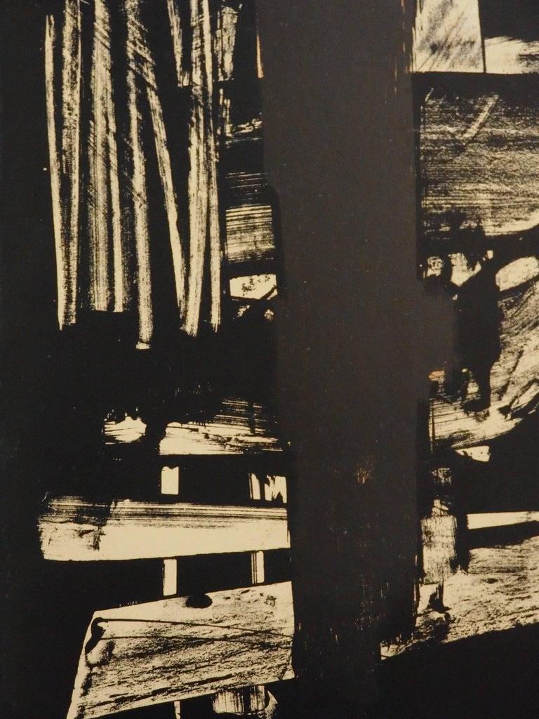 Lithograph n°9 - Original stone lithograph (Mourlot / Catalog raisonne BNF#53) - Black Abstract Print by Pierre Soulages