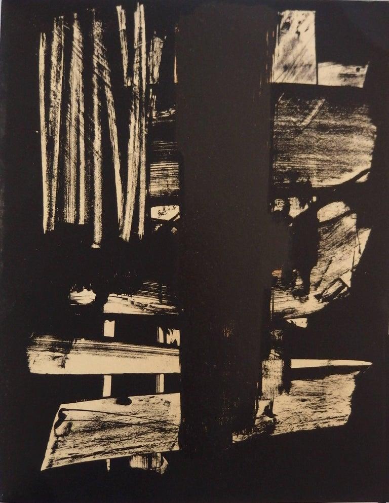Pierre Soulages Abstract Print - Lithograph n°9 - Original stone lithograph (Mourlot / Catalog raisonne BNF#53)