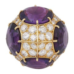 Pierre Sterlé 20 Carat Amethyst 2 Carat Diamonds 18 Carat Yellow Gold Ring