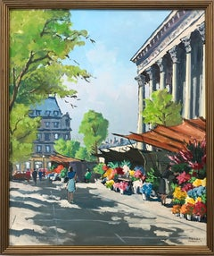 """Flower Stand by the Madeleine"" French Impressionist Oil Painting on Canvas"