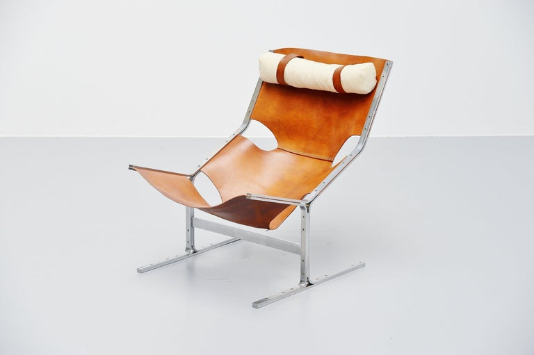 Mid-Century Modern Pierre Thielen Sling Lounge Chair Metz & Co., Holland, 1960s For Sale