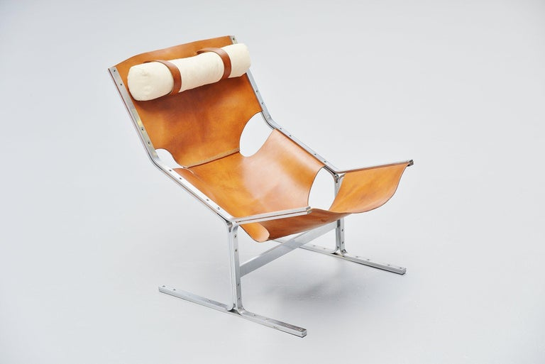 Mid-20th Century Pierre Thielen Sling Lounge Chair Metz & Co., Holland, 1960s For Sale