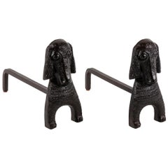 Pierre Toulhoat, Pair of Firedogs in Patinated Bronze, End of 20th Century
