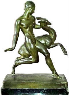 Art Deco Bronze Nude Girl with Fawn, Amazon with Fawn