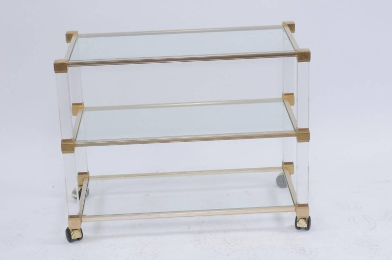 Mid-Century Modern Pierre Vandel 1960s Altuglas Bar Cart with Chrome, Brass and Acrylic Accents For Sale