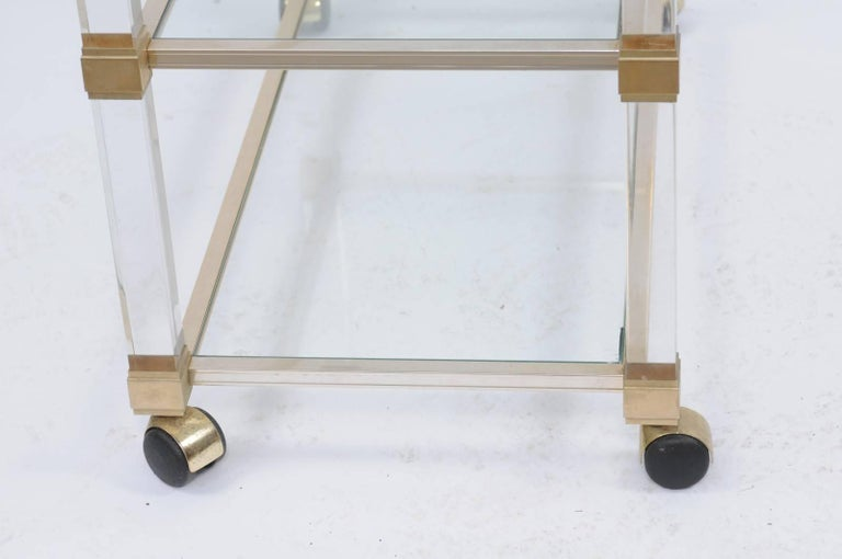 French Pierre Vandel 1960s Altuglas Bar Cart with Chrome, Brass and Acrylic Accents For Sale