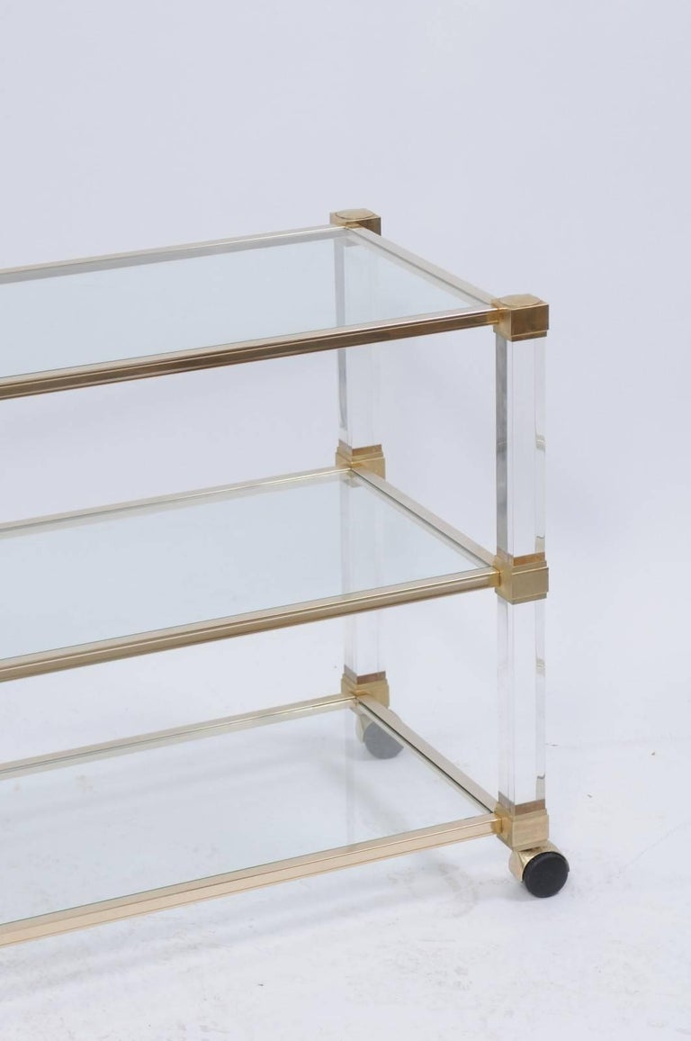 Pierre Vandel 1960s Altuglas Bar Cart with Chrome, Brass and Acrylic Accents For Sale 2