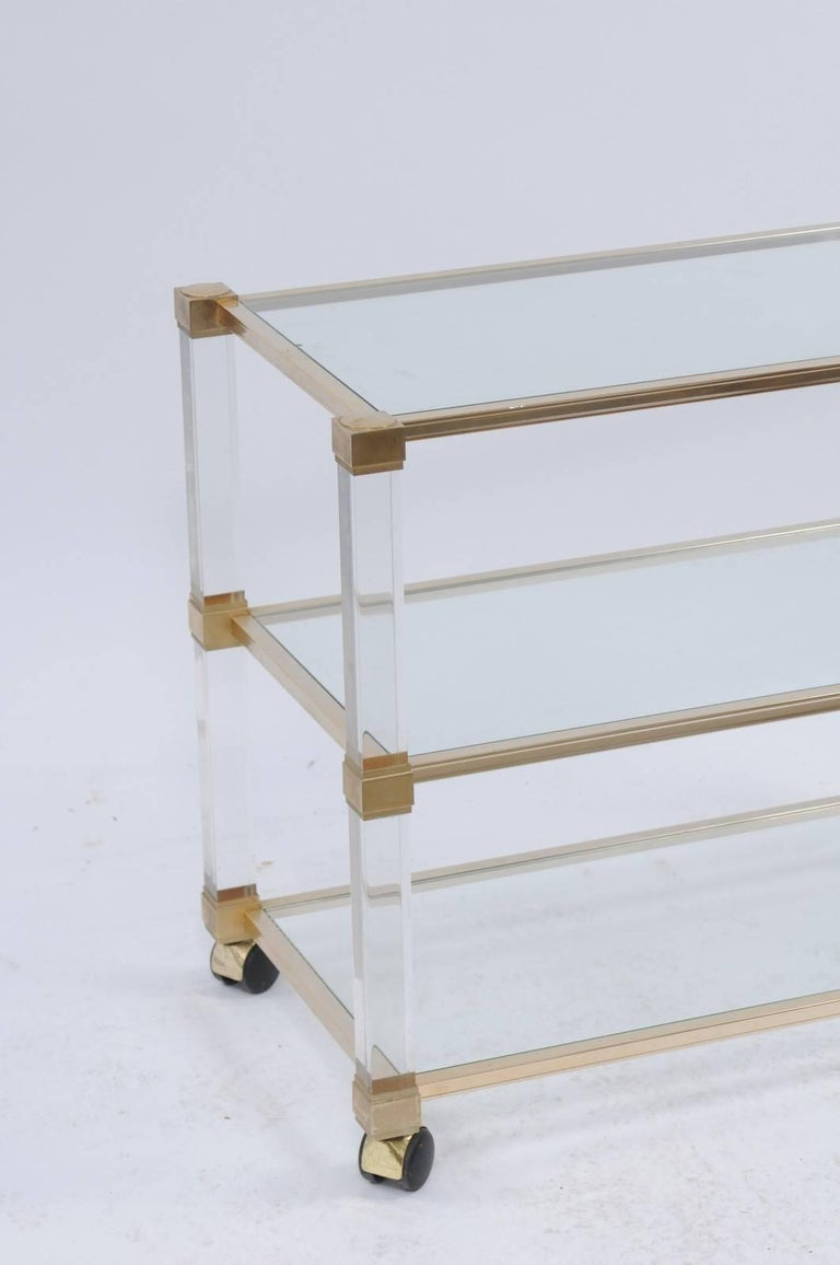 Pierre Vandel 1960s Altuglas Bar Cart with Chrome, Brass and Acrylic Accents For Sale 3