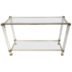 Pierre Vandel Lucite and Metal Console Table, France, 1970s